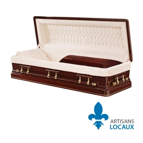 Solid cherry wood casket with garnet gloss finish