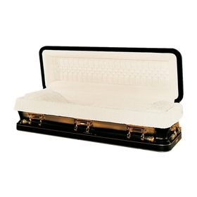 Black and gold 48-ounce bronze casket