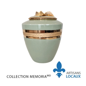 Celadon urn with golden leaves