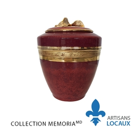 Red urn with gilded leaves