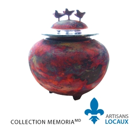 Double urn with matte finish (birds)