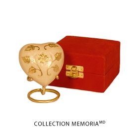 Beige flowered heart-shaped keepsake urn