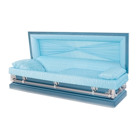 Blue 20-gauge aries steel casket