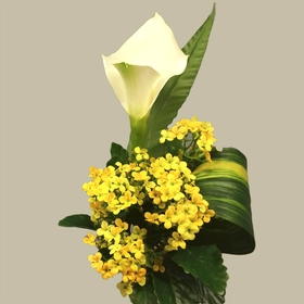 Yellow and white silk bouquet