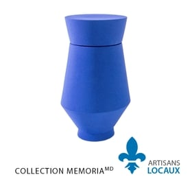 Blue large format ceramic urn with lid 1.