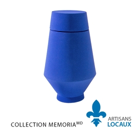 Blue large format ceramic urn with lid 3.